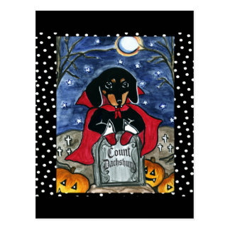 Halloween Count  Dachshund Postcard