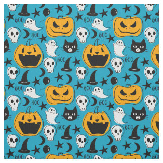 Halloween Creatures Illustration Fabric