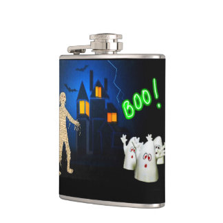Halloween Creatures on Hip Flask