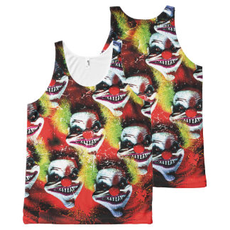 halloween creepy evil horror clown collage All-Over print singlet