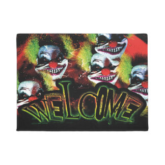 halloween creepy evil horror clown collage doormat