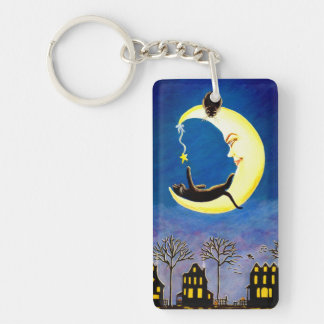 Halloween crescent moon and black cats key ring