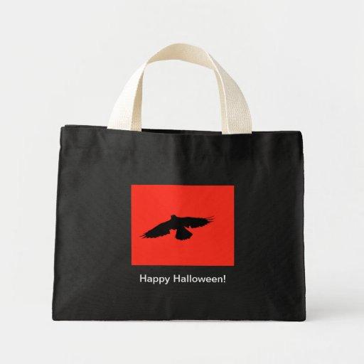 Halloween Crow Card Tote Bags