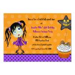 Halloween Cupcake and Girl Ghoul Birthday Invitations