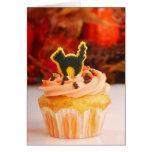 Halloween Cupcake With Fall Foliage Greeting Card