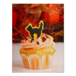 Halloween Cupcake With Fall Foliage Poster