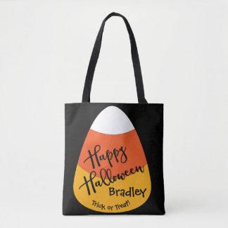 Halloween Custom Name Candy Corn Tote Bag