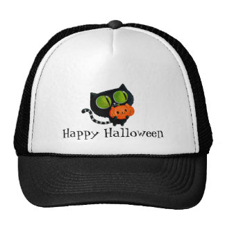Halloween Cute Cat with pumpkin Cap