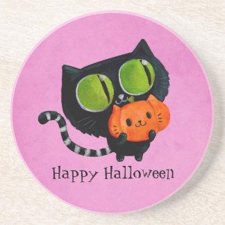Halloween Cute Cat with pumpkin Coasters