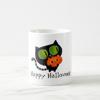Halloween Cute Cat with pumpkin Coffee Mug