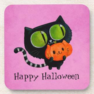 Halloween Cute Cat with pumpkin Drink Coaster
