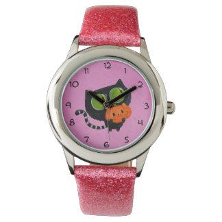 Halloween Cute Cat with pumpkin Watches