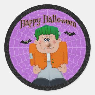 Halloween - Cute Frankie with Bats Classic Round Sticker