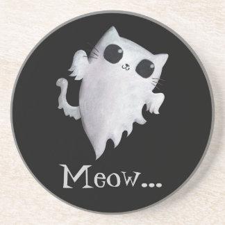 Halloween cute ghost cat beverage coasters