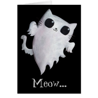 Halloween cute ghost cat greeting card