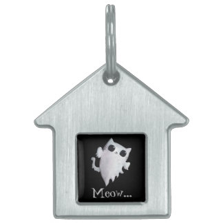 Halloween cute ghost cat pet tag