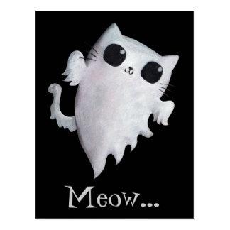 Halloween cute ghost cat postcard