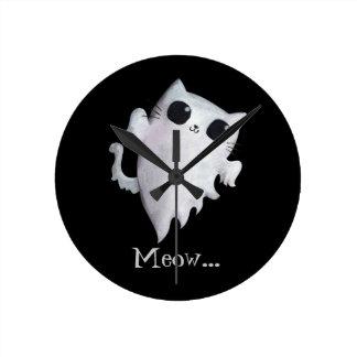 Halloween cute ghost cat wall clock