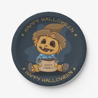 Halloween Cute Jack O' Lantern. Add Name. Paper Plate