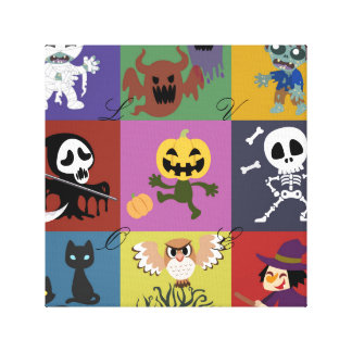 Halloween,cute,kids,pattern,children,fun,happy,tem Gallery Wrapped Canvas