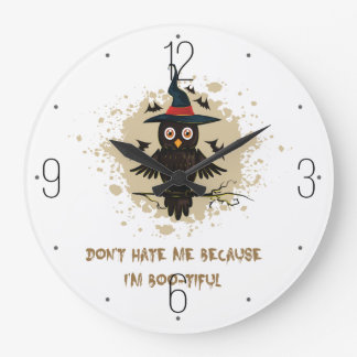 Halloween cute owl with witches hat wallclock