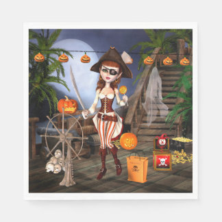 Halloween Cute Pirate Girl Paper Napkins