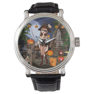 Halloween Cute Pirate Girl Wrist Watch
