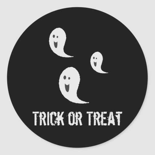 Halloween Cute Spooky Smiley Trick or Treat Ghosts Classic Round Sticker
