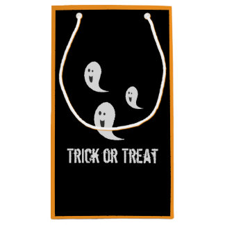 Halloween Cute Spooky Smiley Trick or Treat Ghosts Small Gift Bag