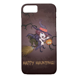 Halloween cute witch on broomstick and pumpkin iPhone 7 case