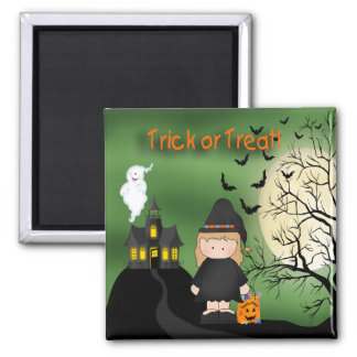 Halloween Cute Witch Square Magnet