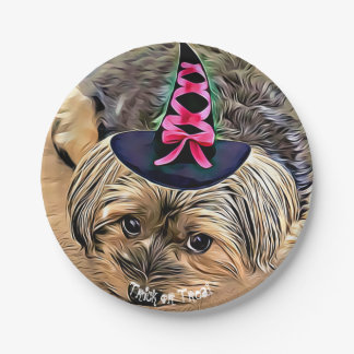 Halloween Cute Yorkshire Terrier with witch hat Paper Plate