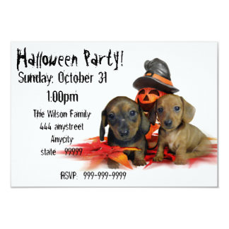 Halloween Dachshund puppies Dog Party invitation