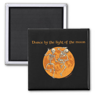 Halloween Dancing Skeletons Orange Moon Square Magnet