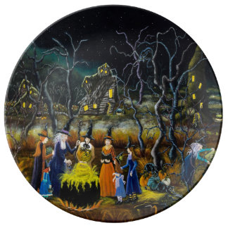 Halloween decorative plates, witches with cauldron plate