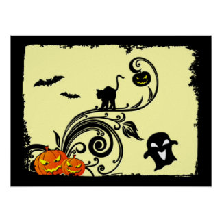 Halloween Design with Cats and Pumpkins Poster
