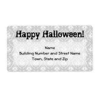 Halloween Design with Gray Damask Pattern. Shipping Label