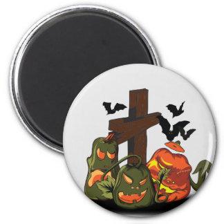 Halloween devil pumpkins in graveyard 6 cm round magnet