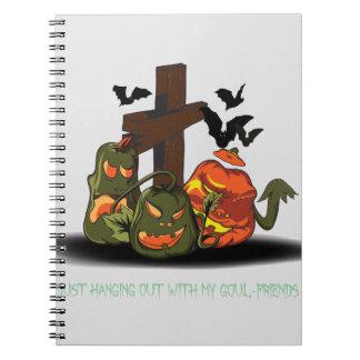 Halloween devil pumpkins in graveyard spiral notebook