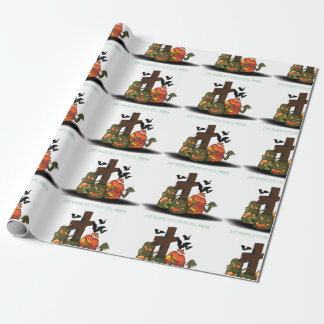 Halloween devil pumpkins in graveyard wrapping paper
