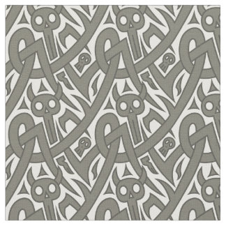 Halloween devils, skulls geometric pattern fabric