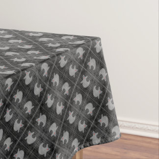 Halloween Diva Ghost on Diagonal Black Tiles Tablecloth