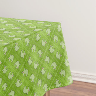 Halloween Diva Ghost on Diagonal Green Tiles Tablecloth