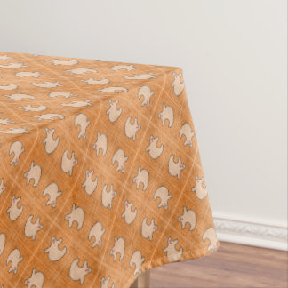Halloween Diva Ghost on Diagonal Orange Tiles Tablecloth