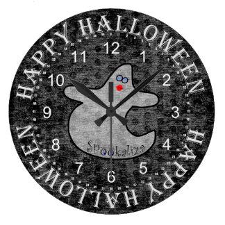 Halloween Diva Ghost, Spookaliza on Black Texture Large Clock