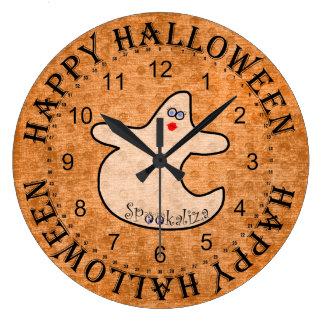 Halloween Diva Ghost, Spookaliza on Orange Large Clock
