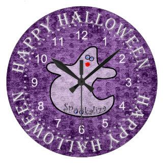 Halloween Diva Ghost, Spookaliza on Purple Large Clock
