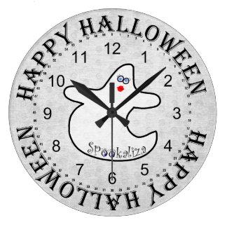 Halloween Diva Ghost, Spookaliza on White Large Clock