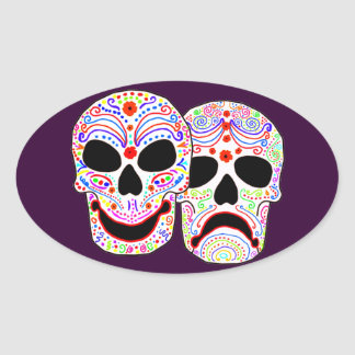 Halloween DOTD Comedy-Tragedy Skulls Oval Sticker