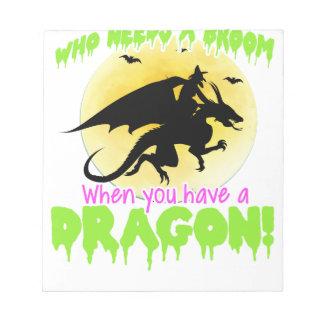 Halloween dragon tee notepad